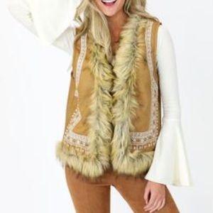 Jackets & Blazers - Faux Suede Vest Fur Trim & White Aztec Detail S